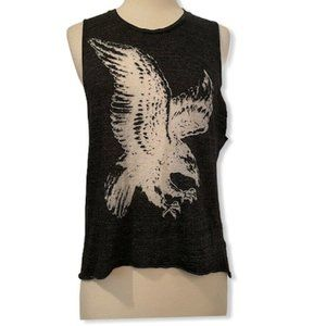Nation LTD Eagle Tank Size XS Grey White Printed
